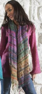 Hippy Scarf~Silk Scarf Raw Silk Blend Handwoven Hippy Scarf~Fair trade By Folio Gothic Hippy SC24